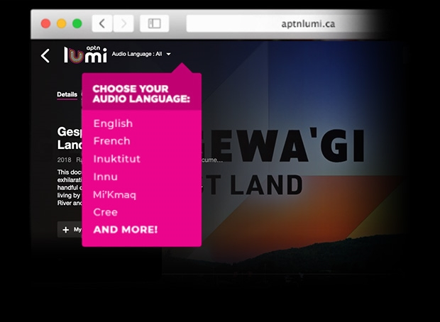 a screenshot of a dropdown menu showing the audio languages available on APTN lumi